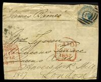 Lot 11874:1857 piece with imperf 1/- blue (SG #25) and Paid 12 JY 1857 handstamp in red and part paid Liverpool Ship JY 1857 handstamp in red.