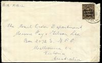 Lot 20011:1948 commercial cover to Melbourne with 3d BCOF tied by Aust Army PO Base 241 (Eta Jima) 1948 with British Commonwealth Forces crest on back flap.