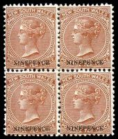 Lot 910:1899 Chalk-Surfaced Paper Wmk 2nd Crown/NSW Perf 12x11½ SG #309 9d on 10d dull brown block of 4.