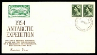 Lot 3657 [1 of 2]:1954 Antarctic Expedition illustrated cover with adhesives cancelled by Mawson cds 15FE54 with 1954 Expedition label in green on face and 1954 Expedition label featuring penguins in blue on reverse.
