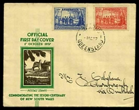 Lot 508:APO 1937 NSW Sesquicentenary 2d & 3d tied to illustrated FDC by Cairns cds 1OC37.