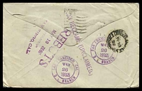 Lot 5072 [2 of 2]:1932 cover to USA with KGV 3d tied by Sydney Posted Oversea Box cancel 20MCH 1932 and 'REBUTS/MAY 12 1932/UNCLAIMED/SAN DIEGO, CAL' (B1, year inverted) and 'Address not good/in San Diego Calif.' both on face & in violet.