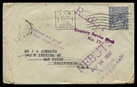 Lot 5072 [1 of 2]:1932 cover to USA with KGV 3d tied by Sydney Posted Oversea Box cancel 20MCH 1932 and 'REBUTS/MAY 12 1932/UNCLAIMED/SAN DIEGO, CAL' (B1, year inverted) and 'Address not good/in San Diego Calif.' both on face & in violet.
