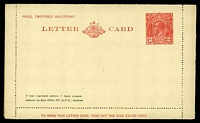 Lot 404:1930-39 2d Red KGV Sideface New Design 'TO OPEN THIS LETTERCARD' BW #LC64 on white stock, with Private printing for W. S. Friend & Co Sydney.