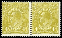 Lot 717:4d Olive - BW #117(4)e [4L25] Roos tongue out left unit in pair.
