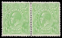 Lot 717:½d Green - BW #65(5)m [5R43] Thin fraction at right left unit in pair.