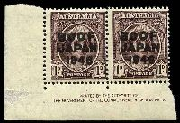 Lot 3166:BW #J2z 1d purple-brown Authority Imprint pair.