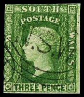 Lot 5630:1856-60 Imperf Small Diadems Recess Wmk Double-Lined Numeral SG #115 3d yellow-green 2 clear margins.
