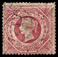 Lot 1059:1860-72 Diadems Wmk Double-Lined Numeral Perf 13 SG #168 1/- rose-carmine.