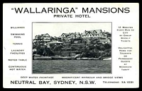 Lot 1411:Neutral Bay: - Black & white PPC for 'Wallaringa Mansions, Neutral Bay Sydney NSW' fine period advertising card, unused.  PO 16/1/1889; closed 30/6/1986.