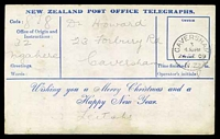 Lot 3993 [2 of 2]:1907-09 New Zealand Post Office Telegraphs: Official Telegraphs Christmas and New Year Card with view of 'The Clinton River, near Glade House.', with Caversham cds 24DE09, wee bit grubby but scarce item.