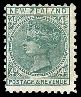 Lot 4408:1882-1900 Inscribed Postage & Revenue SG #241a 4d bluish green P11.