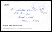 Lot 4044:1976 OHMS cover from Norfolk Island Administration with Norfolk Island Official Post oval frank in violet cancelled by light Norfolk Island cds 18AU76.