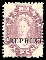 Lot 10022:1889 Reprints 6d mauve Chalon on thick card P11½ Optd 'REPRINT'.