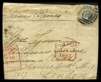 Lot 2235:1857 piece with imperf 1/- blue (SG #25) and Paid 12 JY 1857 handstamp in red and part paid Liverpool Ship JY 1857 handstamp in red.