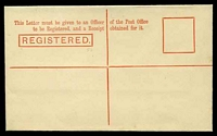 Lot 11656 [2 of 2]:1901 3d Red-Orange Stieg #C9 'REGISTERED.' box 52mm.