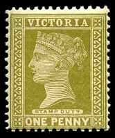 Lot 1955:1899-1901 Stamp Duty Wmk 4th V/Crown SG #358 1d olive.