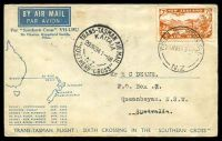 Lot 863 [1 of 2]:1934 New Zealand - Australia AAMC #367 illustrated cover with NZ 7d Airmail tied by Wellington cds 23MR34 with Special Trans Tasman Air Mail Kaitaia cds 29MR34 and backstamped Sydney 29 MCH 1934.
