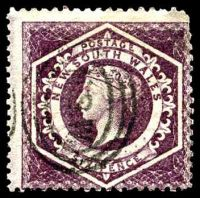 Lot 901:1860-72 Diadems Wmk Double-Lined Numeral Perf 13 SG #165a 6d purple Plate II wmk 5.