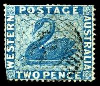 Lot 3497:1861 Recess Wmk Swan Intermediate Perf 14-16 SG #34 2d blue, few trimmed perfs.