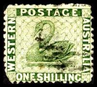 Lot 3502:1864-79 Wmk Crown/CC Perf 12½ SG #62 1/- sage-green.