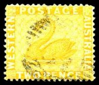 Lot 3342:1882-85 Recess Wmk Crown/CA (Sideways) Perf 14 SG #77 2d chrome-yellow.
