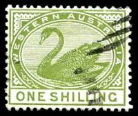 Lot 3346:1885-93 Typo Wmk Crown/CA (Sideways) Perf 14 SG #102 1/- olive-green.