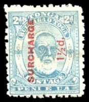 Lot 28844:1895 Surcharges SG #26 1½d on 2d pale blue