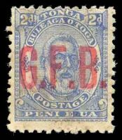 Lot 28866:1893 G.F.B. Ovpts: SG #O2 2d pale ultramarine, no gum.
