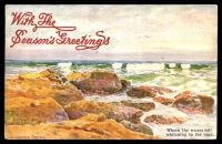 Lot 63 [1 of 2]:Australia - Artist: multi-coloured PPC 'Where the Waves roll whitening to the sand' by W Lister Lister.