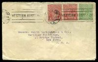 Lot 5212:1917 cover to New York USA with ½d green KGV and 1d red pair tied by Perth machine cancel 12JUL 17.