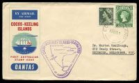 Lot 3469:1955 illustrated cover with Australian adhesives tied by fine Cocos Island cds 23NO55 with fine violet Inauguration of Domestic Postal Services cachet at left.