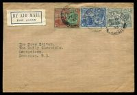 Lot 26111:1933 Air Mail cover to British Guiana with KGV 2d, 3d & 6d tied by Port of Spain double ring cancel JY 15 33.