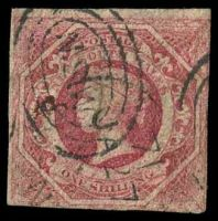 Lot 941:1854-59 Imperf Large Diadems Wmk Double-Lined Numeral SG #99 1/- rosy vermilion, three margins close to good, inverted wmk.