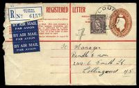 Lot 3843 [1 of 2]:1942-48 5½d Brown KGVI Oval Text in Red BW #RE32 on cream, text in red, curved flap at left, used by Air Mail from Mildura with additional 3d KGVI adhesive in 1946.