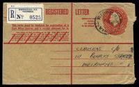 Lot 882:1959-62 2/5d QEII - Provisional on 1/7d Stock BW #RE40C text setting 2 barred out and 10 obliterating lines on reverse, used in Ripponlea in 1960.