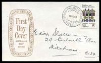 Lot 1044:APO 1968 5c Building Societies on brown open Shield FDC by Russell St cds 16OC68, hand addressed.