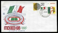 Lot 4556:WCS 1968 Mexico Olympics set on illustrated cover, Brisbane FDI cds of 2OC68, unaddressed.