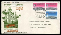 Lot 5442 [1 of 2]:1965 London - Kuala Lumpur - Sydney AAMC #1552 illustrated Qantas cover flown from Kuala Lumpur to London with Qantas receiving backstamp London 5 Sep 1965.