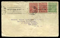 Lot 4510:1917 cover to New York USA with ½d green KGV and 1d red pair tied by Perth machine cancel 12JUL 17.