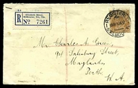 Lot 624 [1 of 2]:1937 Registered cover to Perth with KGV 5d brown tied by Registered Melbourne cds 19JA37.