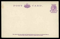 Lot 848:1943-52 2d Mauve KGVI Sideface BW #P72(2) on off-white stock, unused.