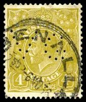 Lot 535:4d Olive perf 'VG' (10 holes in G ).
