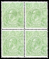 Lot 514:½d Green - BW #65(5)s [5R43] yellowish-green shade, block of 4 with top left unit with Thin fraction at right, nice block.