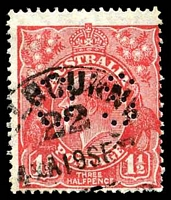 Lot 351:1½d Red Die II - BW #91bb perf 'OS'.