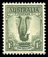 Lot 326:1937-59 1/- Lyrebird BW #208 P13½x14.