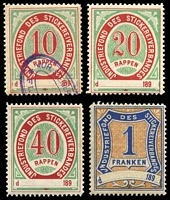 Lot 8:Switzerland: 1890s local labels to 1Franken. (4)