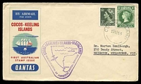 Lot 18326:1955 illustrated cover with Australian adhesives tied by fine Cocos Island cds 23NO55 with fine Inauguration of Domestic Postal Services cachet in violet at left.
