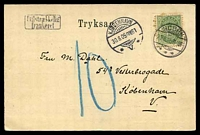 Lot 19234:1905 use of fine double PPC of 'Rowboat on the Lake' at Viborg with 5ö cancelled Hobro 29 8 05 with manuscript '10' and Innsufficent postage handstamp, very attracttive card.
