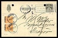 Lot 3992:1924 use of 8ö Postcard from Copenhagen to Dragor with two 7ö Postage due stamps affixed and cancelled Dragor 4 8 24 (paying deficient rate), two punch holes at top of card.